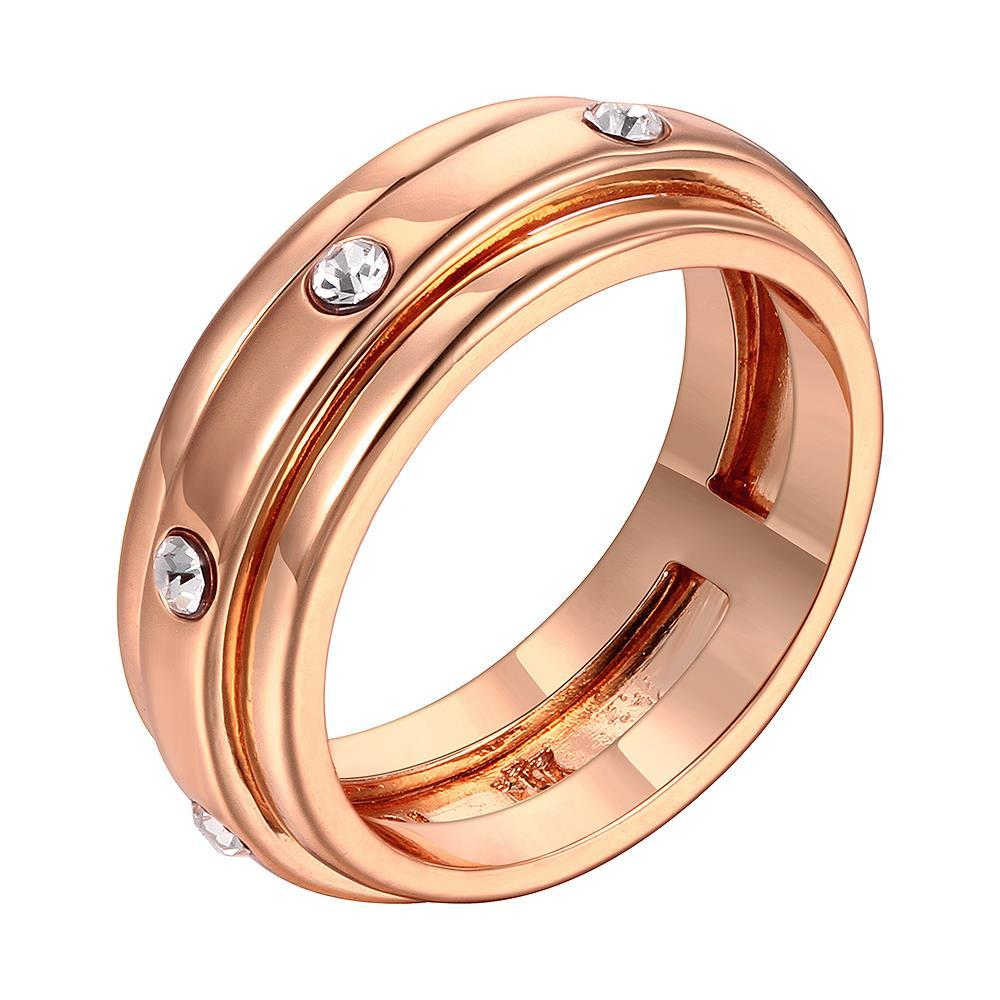 Vienna Jewelry Rose Gold Plated Classic Band with Crystal Jewels Ring Size 8