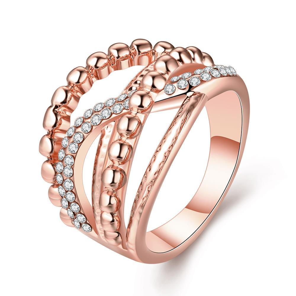 Vienna Jewelry Rose Gold Plated Two-Lined Wire Ring Size 8