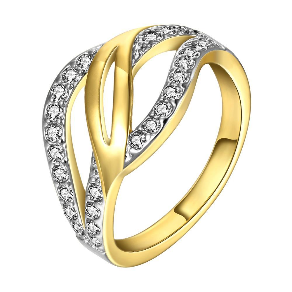 Vienna Jewelry Gold Plated Swirl Design Crystal Ring with Jewels Covering Size 8