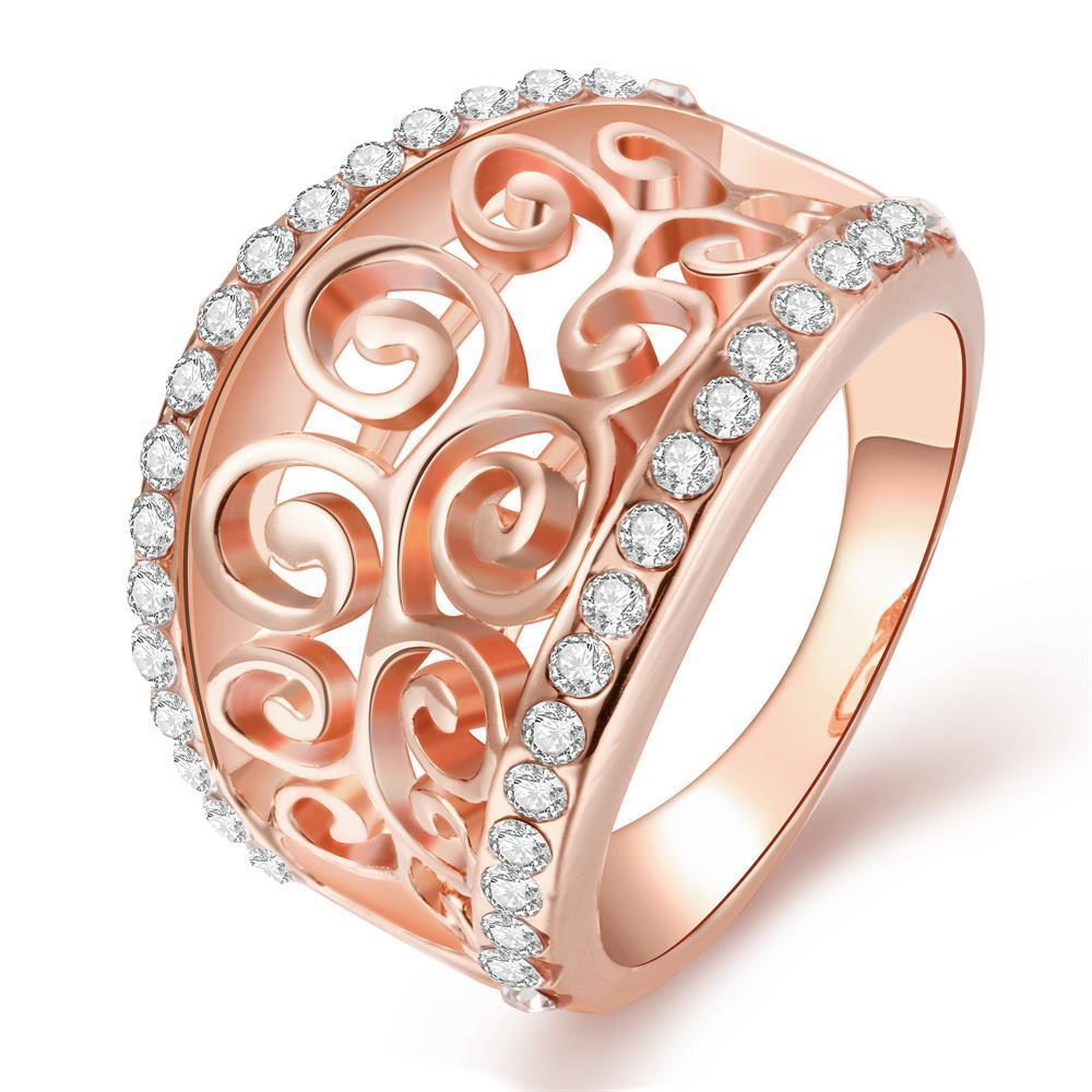 Vienna Jewelry Rose Gold Plated Swirl Design Thick Ring Size 8