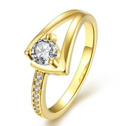 Vienna Jewelry Gold Plated Angular Curved Crystal Ring Size 8 - Thumbnail 0