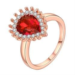 Vienna Jewelry Rose Gold Plated Ruby Red Center Classic Ring Size 8 - Thumbnail 0