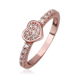 Vienna Jewelry Rose Gold Plated Petite Heart Shaped Ring Size 8 - Thumbnail 0