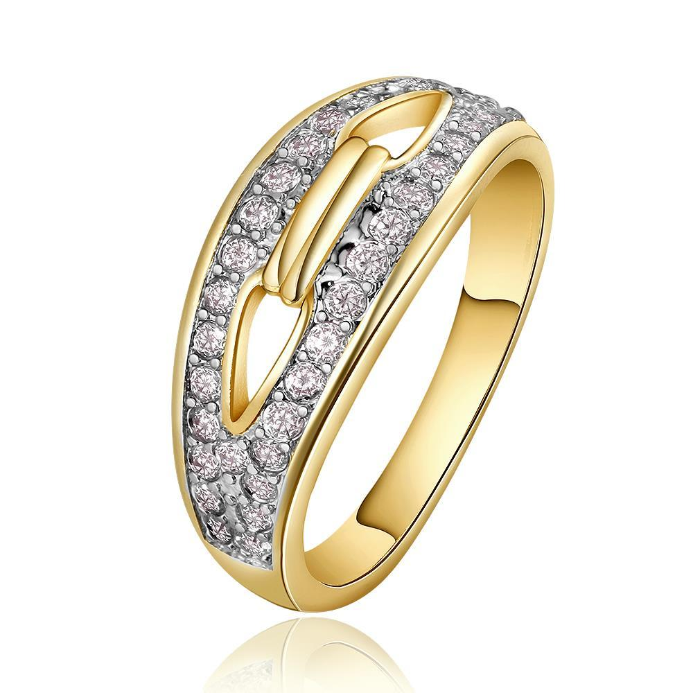 Vienna Jewelry Gold Plated Swirl Heart Locked Crystal Covering Ring Size 8
