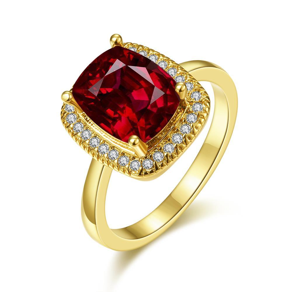 Vienna Jewelry Gold Plated Main Ruby Red Cocktail Ring Size 8