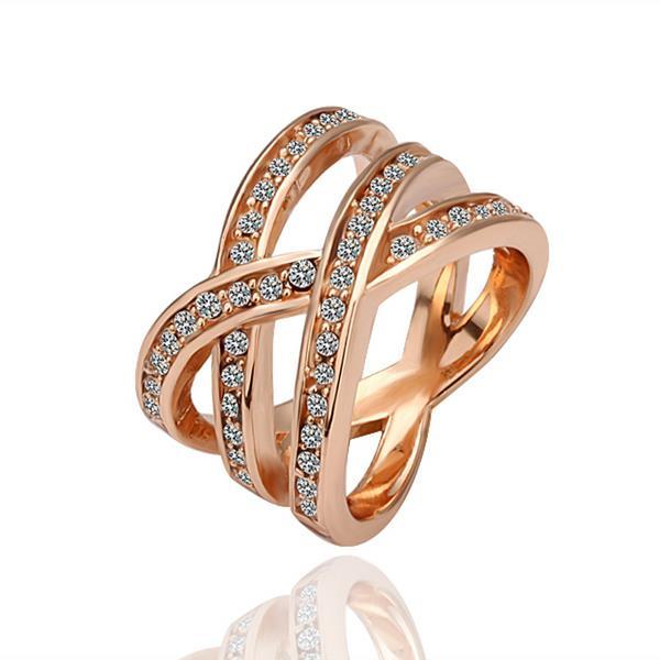 Vienna Jewelry Rose Gold Plated Infinite Matrix Ring Size 8