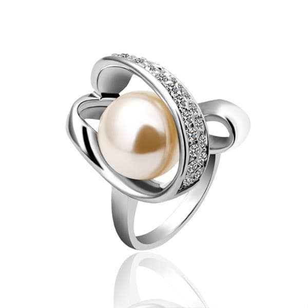 Vienna Jewelry White Gold Plated Pearl Twisted Center Ring Size 8