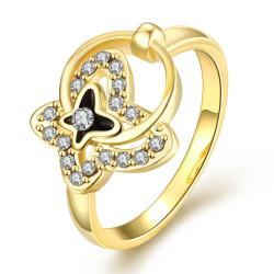 Vienna Jewelry Gold Plated Petite Circular Butterfly Ring Size 8 - Thumbnail 0
