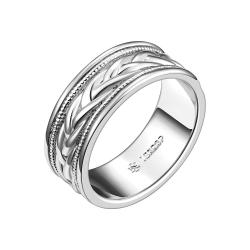 Vienna Jewelry White Gold Plated Swirl Design Band Ring Size 8 - Thumbnail 0