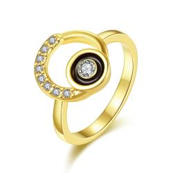 Vienna Jewelry Gold Plated Circular Emblem with Onyx Center Ring Size 8 - Thumbnail 0