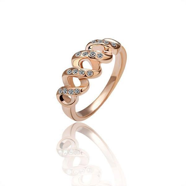 Vienna Jewelry Rose Gold Plated Interlocked Hollow Design Ring Size 8
