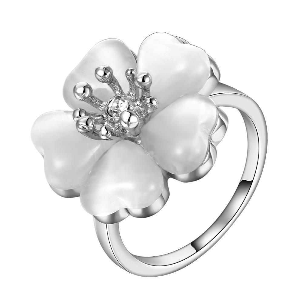 Vienna Jewelry White Gold Plated Blossoming Floral Rose Ring Size 8