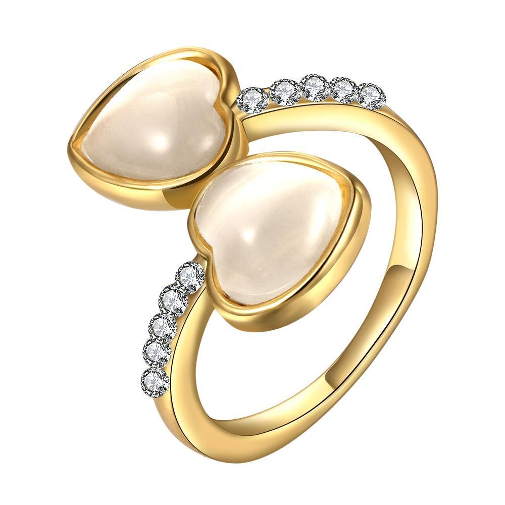 Vienna Jewelry Gold Plated Double Heart Shaped Ivory Plating Ring Size 8