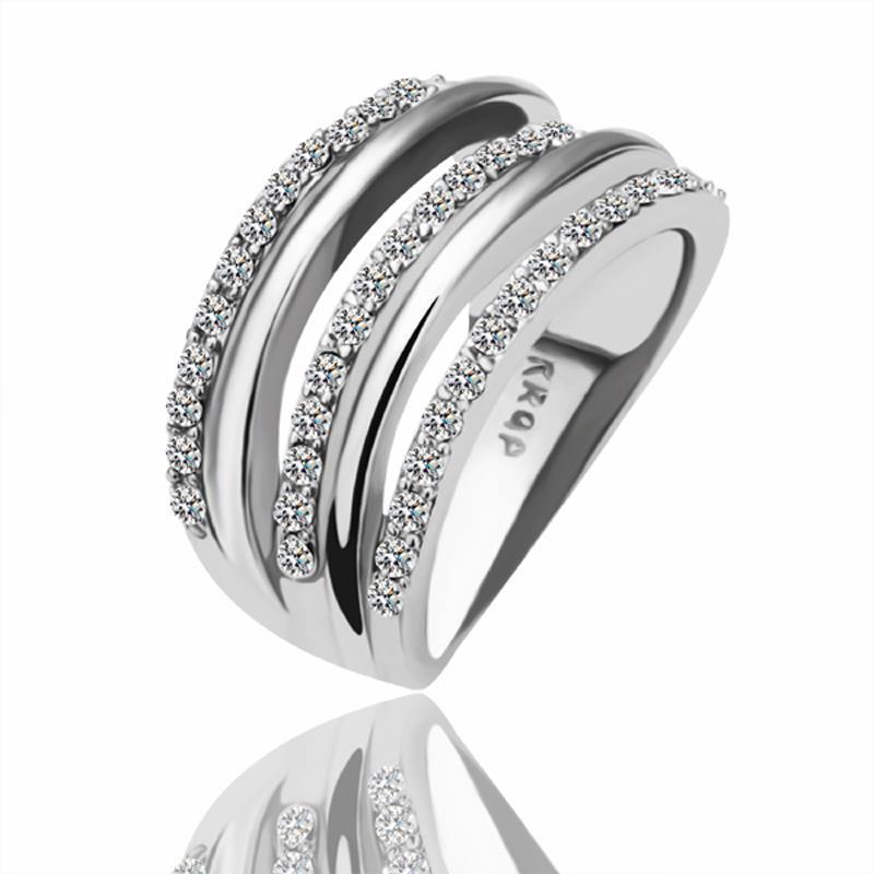 Vienna Jewelry White Gold Plated Abstract Matrix Swirl Ring Size 8