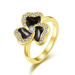Vienna Jewelry Gold Plated Twister Clover Shaped Ring Size 8 - Thumbnail 0