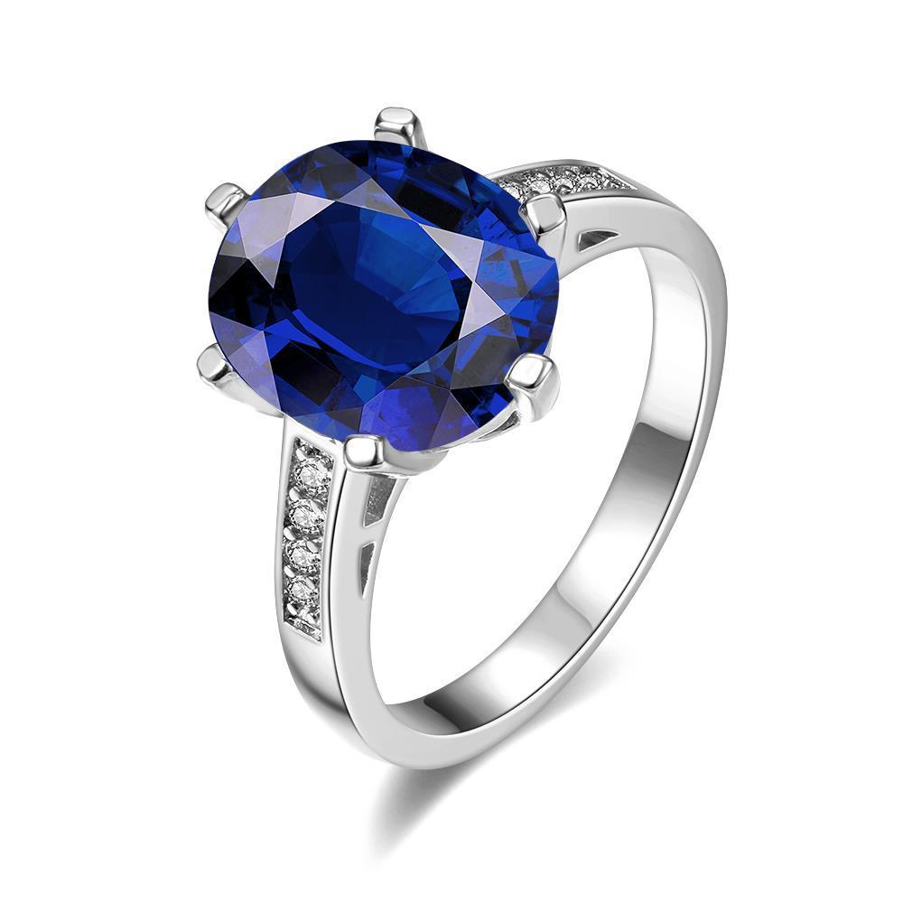 Vienna Jewelry White Gold Plated Medium Cut Saphire Ring Size 8