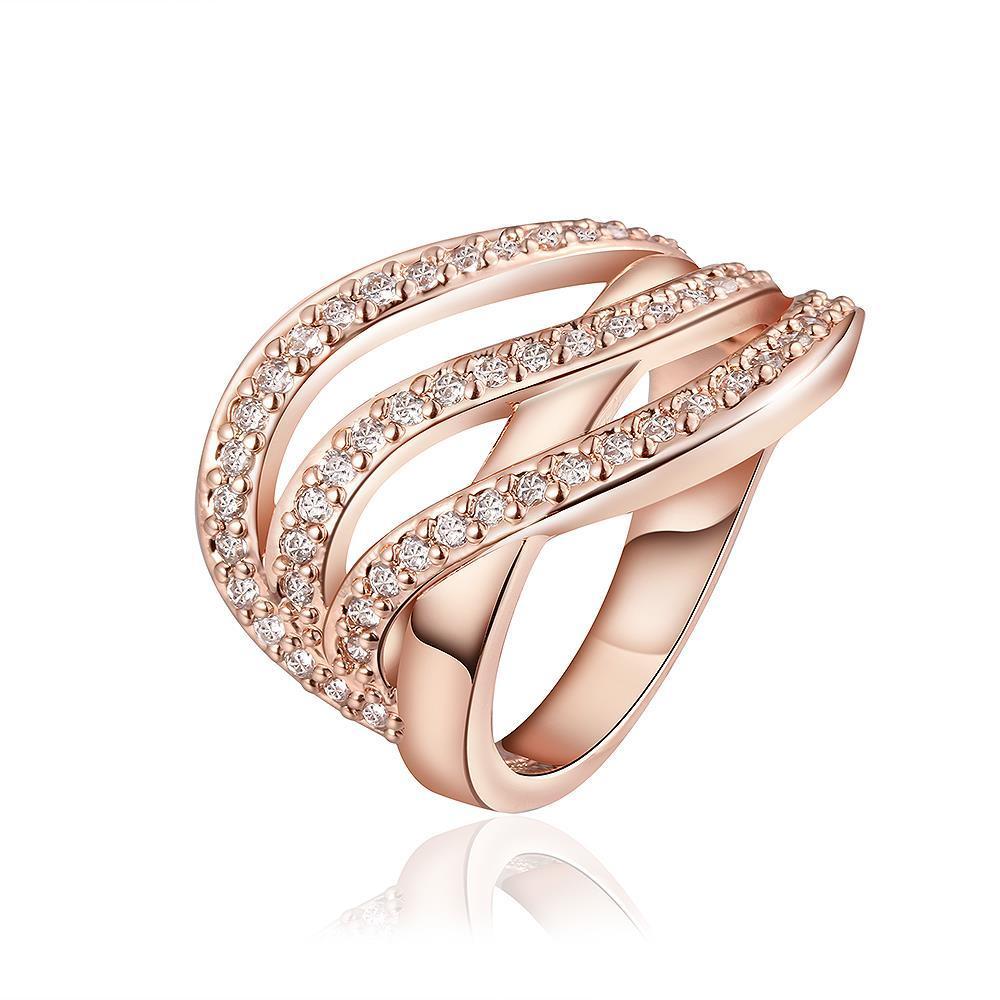 Vienna Jewelry Rose Gold Plated Grape-Vine Desgin Swirl Ring Size 8