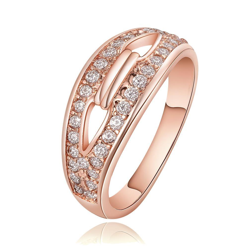 Vienna Jewelry Rose Gold Plated Swirl Heart Locked Crystal Covering Ring Size 8