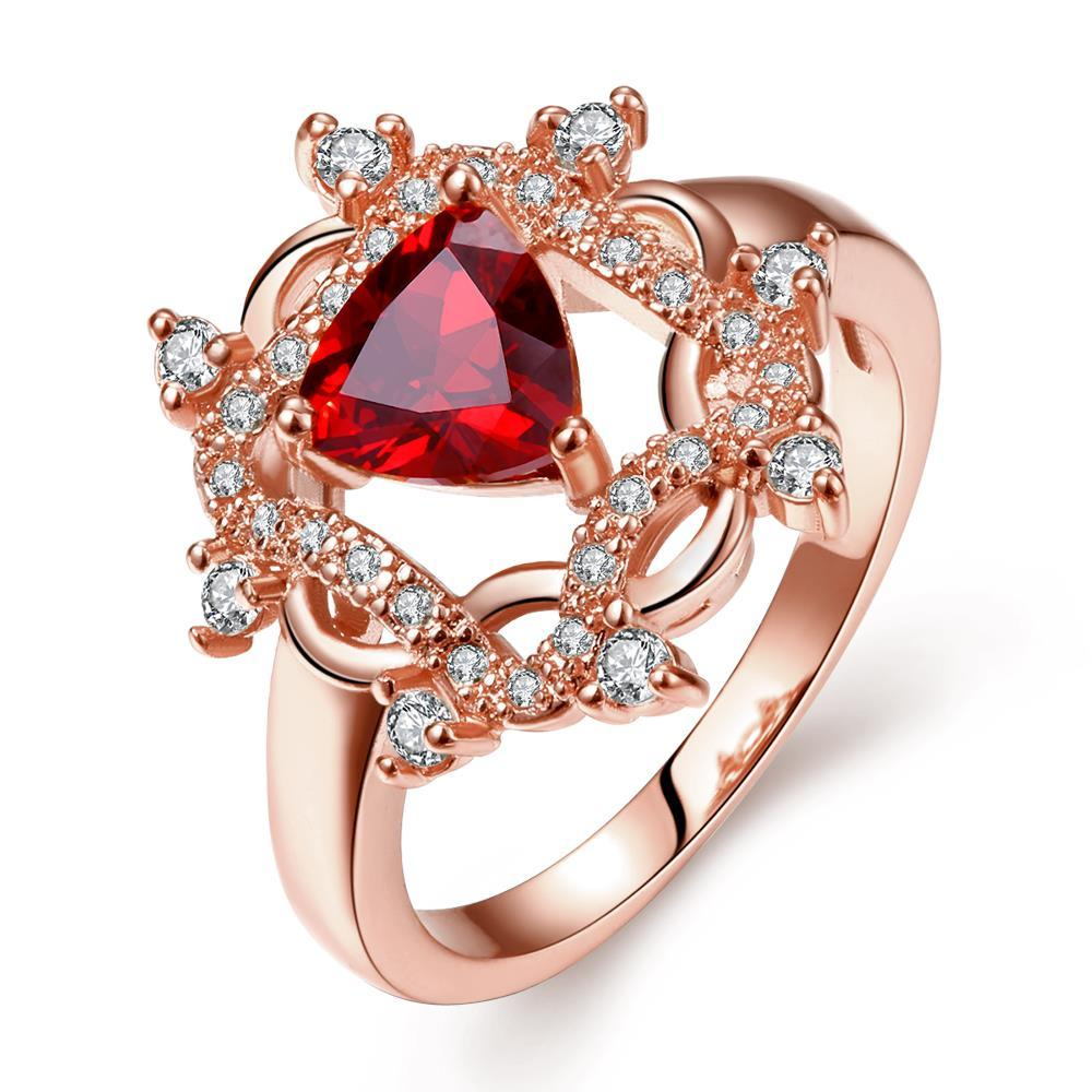 Vienna Jewelry Rose Gold Plated Roman Design Inspired Ruby Ring Size 8
