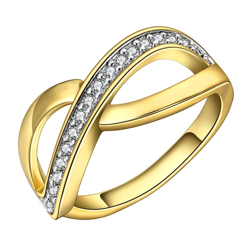 Vienna Jewelry Gold Plated Infinite Swirl Ring with Crystal Covering Size 8