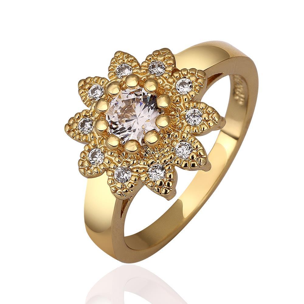 Vienna Jewelry Gold Plated Blossoming Floral Jewel Ring Size 8