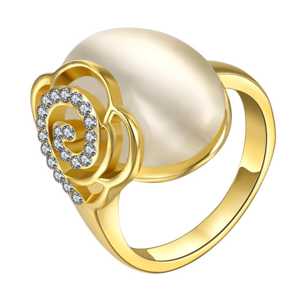 Vienna Jewelry Gold Plated Ivory Gem Center Ring with Floral Backing Size 8