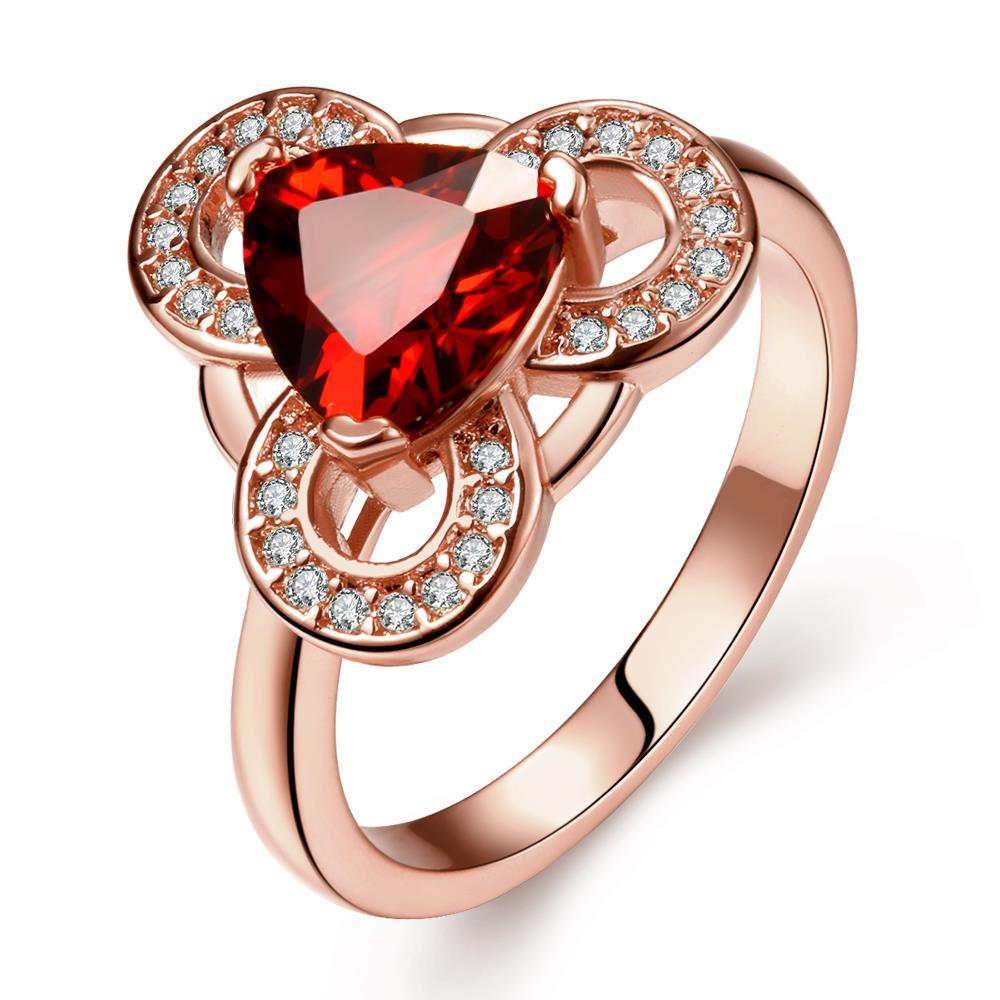 Vienna Jewelry Rose Gold Plated Triangular Ruby Sized Ring Size 8