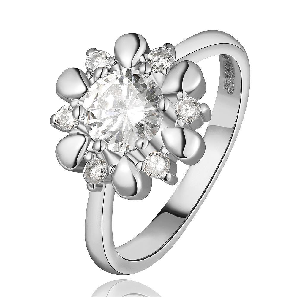 Vienna Jewelry White Gold Plated Petite Snowflake Covered with Jewels Ring Size 8