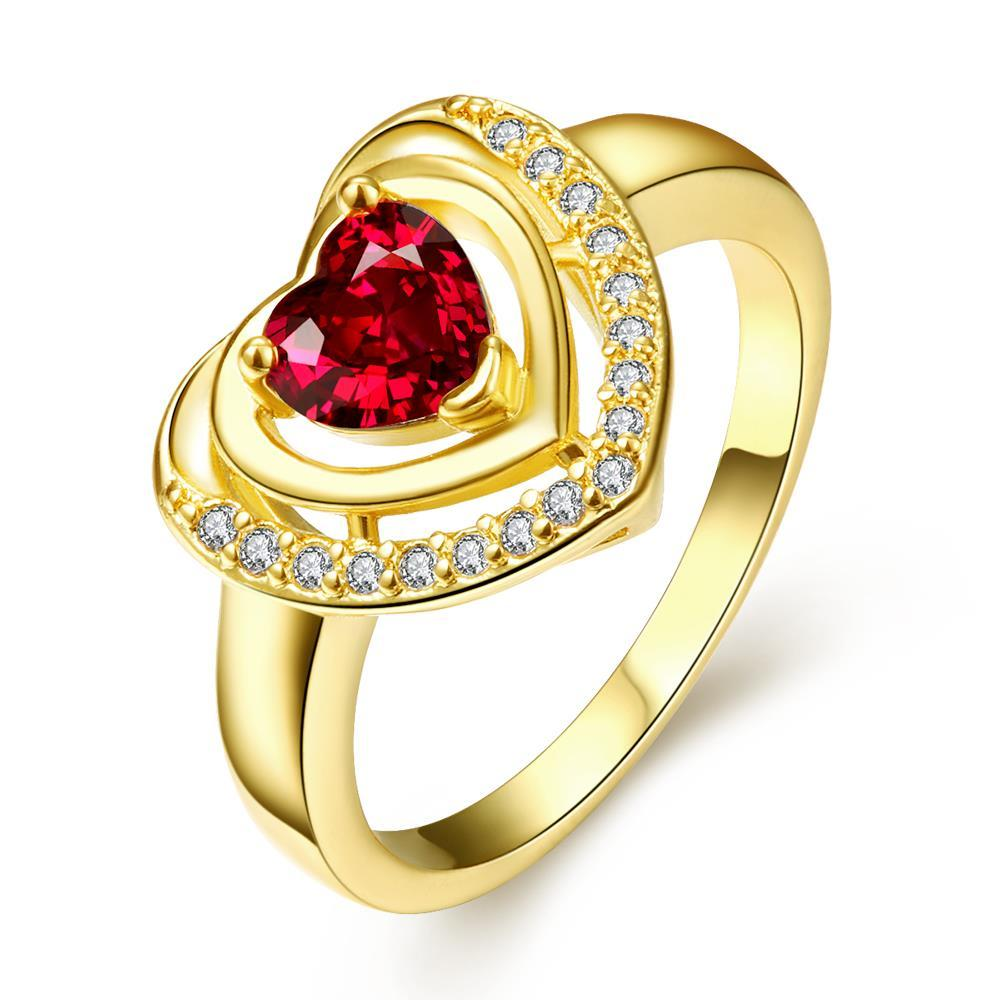 Vienna Jewelry Gold Plated Ruby Opening Ring Size 8