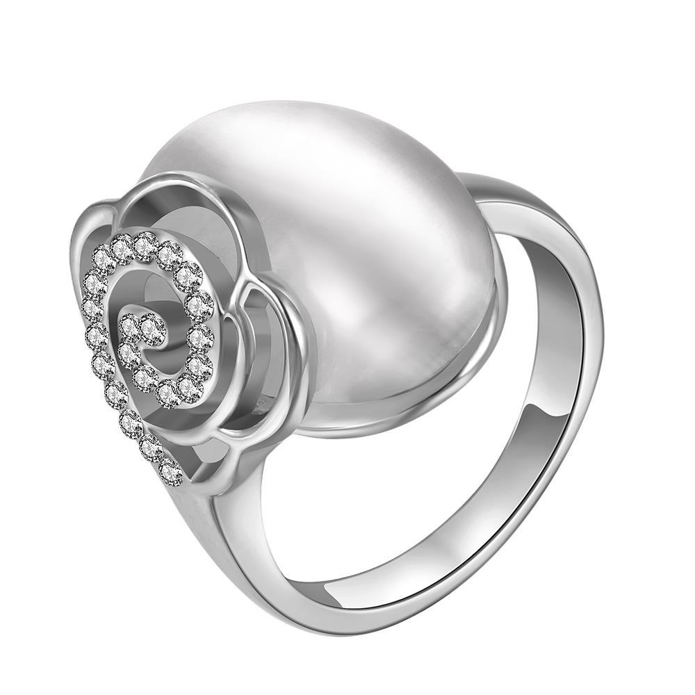 Vienna Jewelry White Gold Plated Ivory Gem Center Ring with Floral Backing Size 8