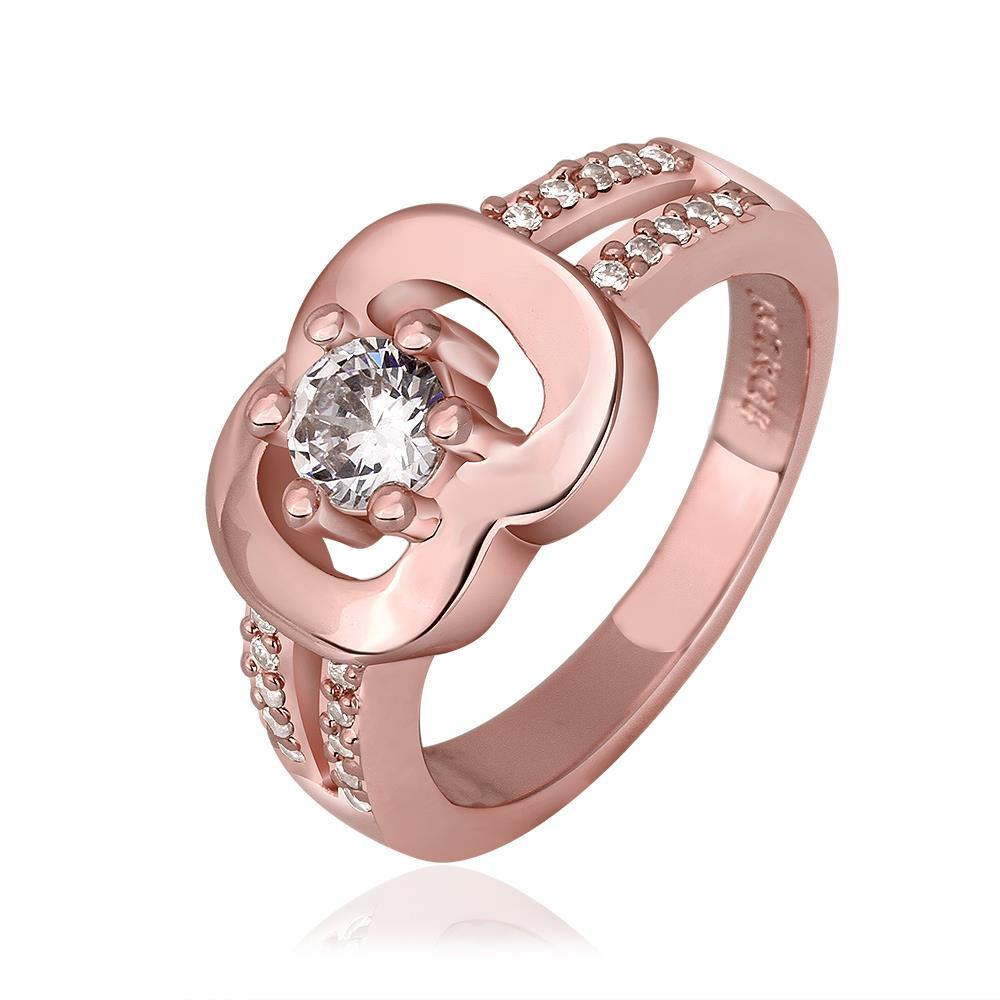 Vienna Jewelry Rose Gold Plated Chain Lock Design with Crystal Jewel Size 8