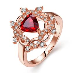 Vienna Jewelry Rose Gold Plated Roman Design Inspired Ruby Ring Size 8 - Thumbnail 0