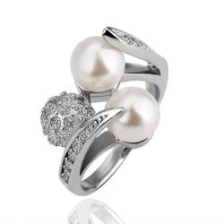 Vienna Jewelry White Gold Plated Pearls & Crystal Ring Size 8 - Thumbnail 0