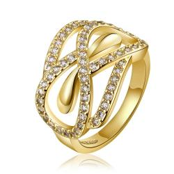 Vienna Jewelry Gold Plated Love Knot Twisted Design Ring Size 8 - Thumbnail 0