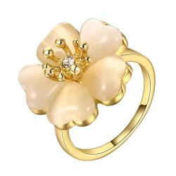 Vienna Jewelry Gold Plated Blossoming Floral Rose Ring Size 8 - Thumbnail 0