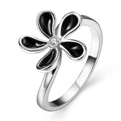 Vienna Jewelry White Gold Plated Classic Onyx Floral Petal Ring Size 8 - Thumbnail 0