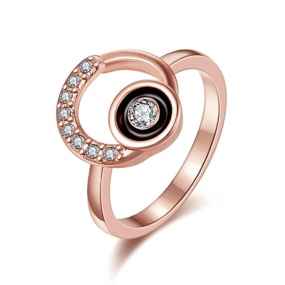 Vienna Jewelry Rose Gold Plated Circular Emblem with Onyx Center Ring Size 8