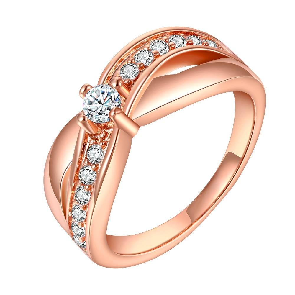 Vienna Jewelry Rose Gold Plated Crystal Lining Ring Size 8