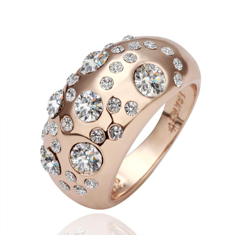 Vienna Jewelry Rose Gold Plated Diamond Jewels Ring Size 7