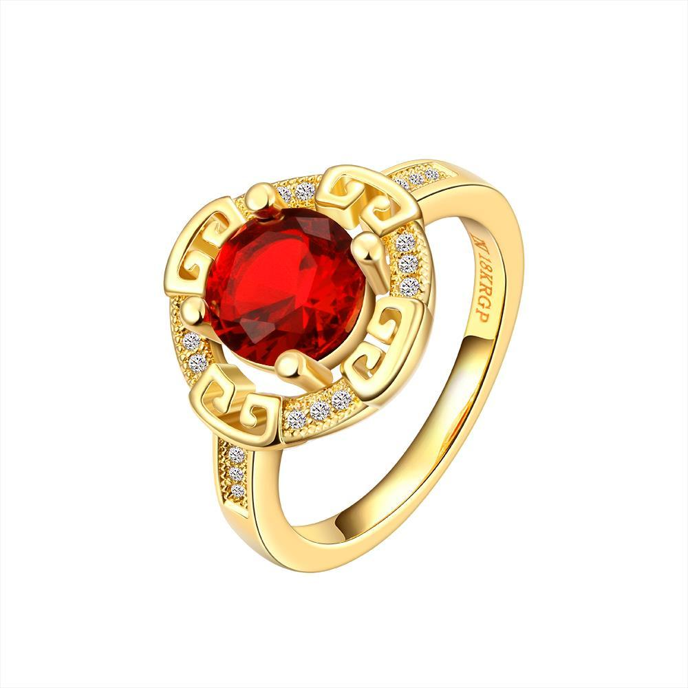Vienna Jewelry Gold Plated Celtic Design Ruby Ring Size 8