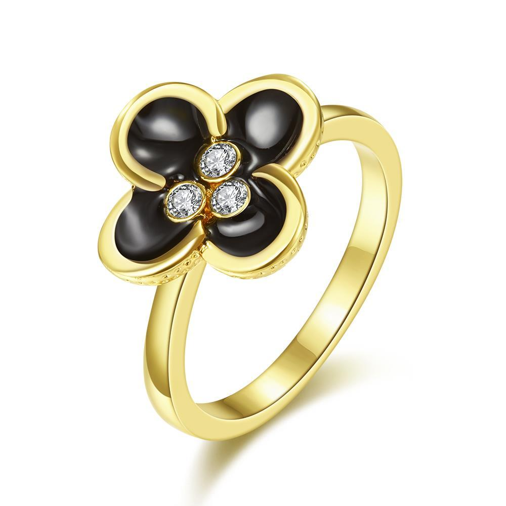 Vienna Jewelry Gold Plated Quad-Clover Stud Ring Size 8