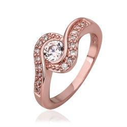 Vienna Jewelry Rose Gold Plated Swirl Design Crystal Jewel Ring Size 8 - Thumbnail 0