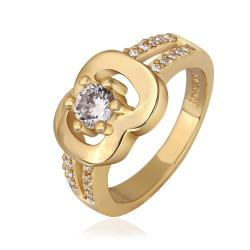 Vienna Jewelry Gold Plated Chain Lock Design with Crystal Jewel Size 8 - Thumbnail 0