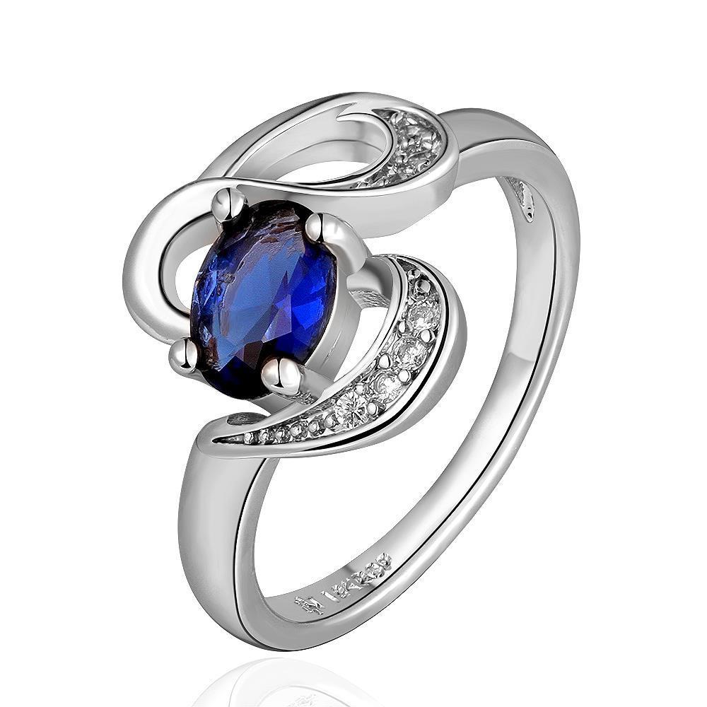 Vienna Jewelry White Gold Plated Swirl Saphire Design Ring Size 8
