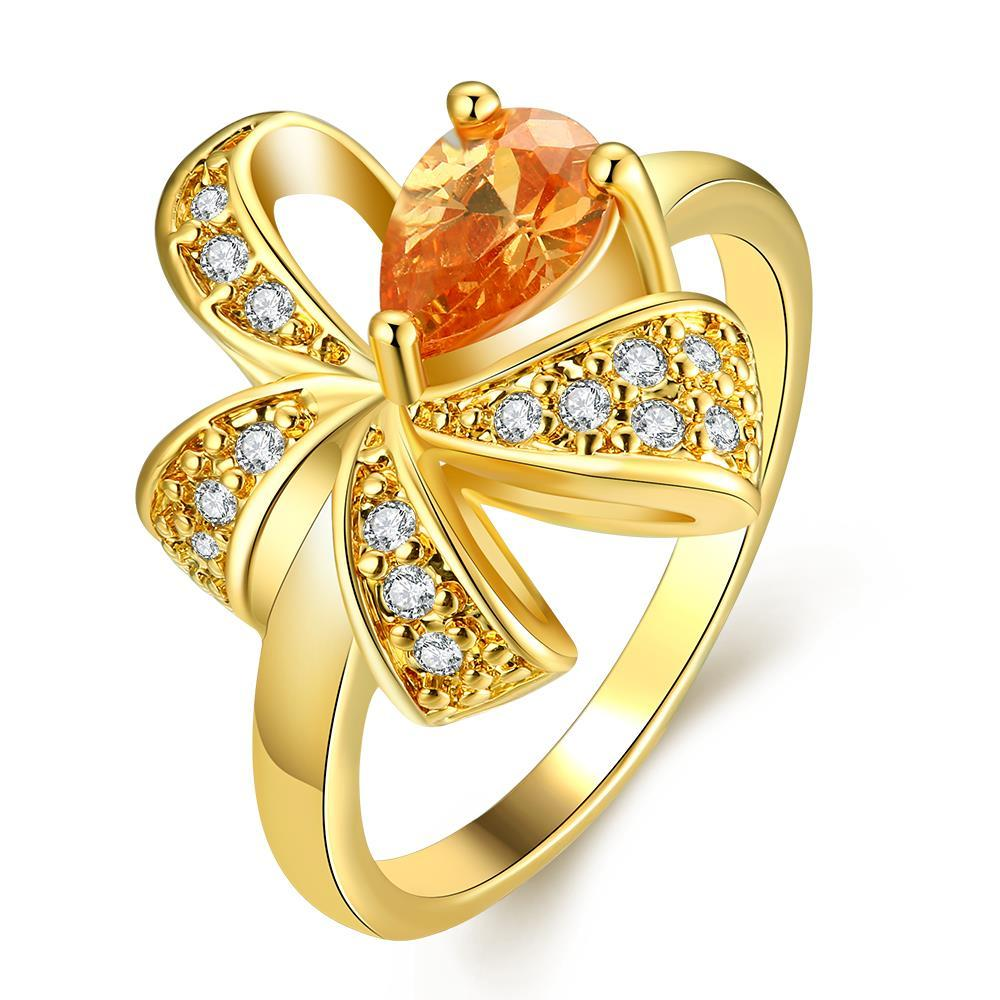 Vienna Jewelry Gold Plated Clover Design with Citrine Ring