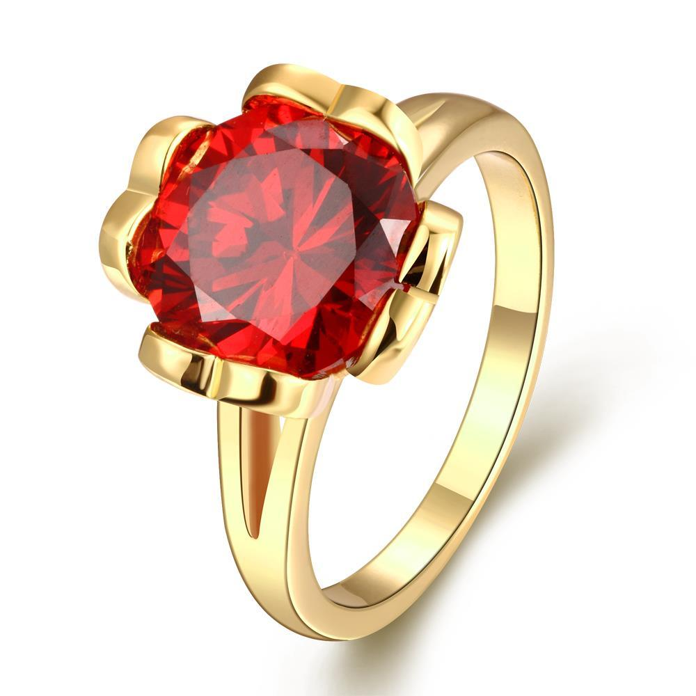 Vienna Jewelry Gold Plated Ruby Clover Inspired Ring