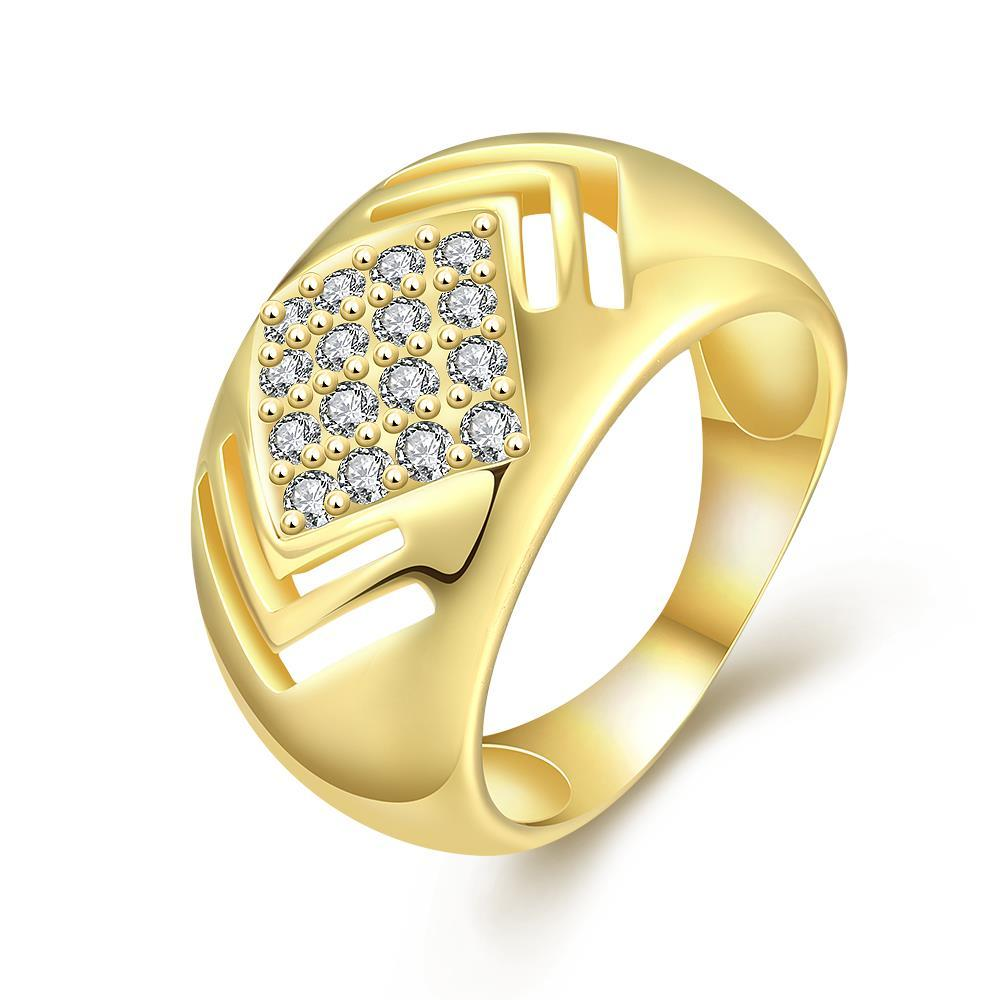 Vienna Jewelry Gold Plated Diamond Shaped with Crystal Jewels Ring