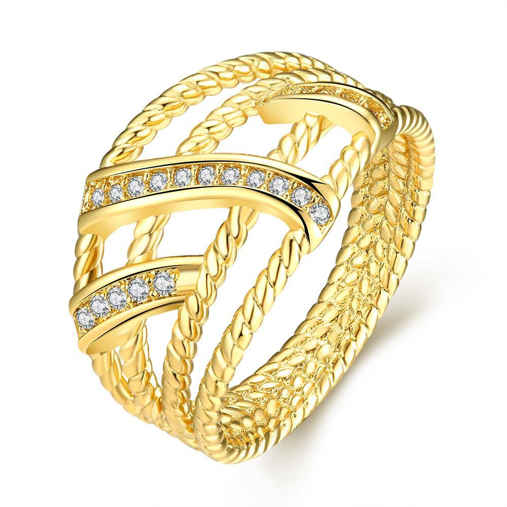 Vienna Jewelry Gold Plated Twisted Designer Inspired Modern Ring