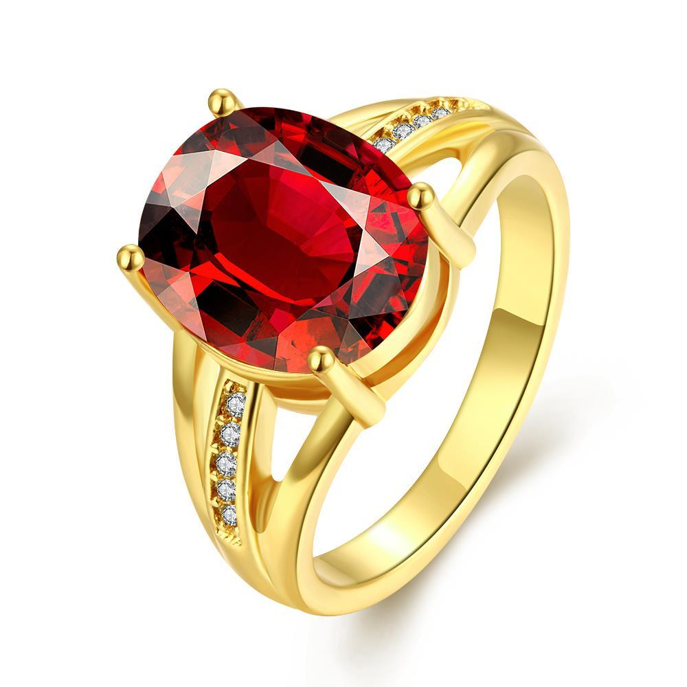Vienna Jewelry Gold Plated Medium Cut Classical Gemstone Ring