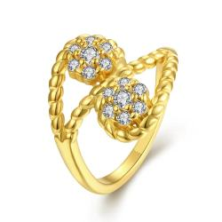 Vienna Jewelry Gold Plated Double Crystal Pave' Ring - Thumbnail 0